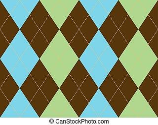 Brown green argyle seamless pattern