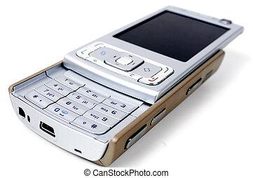 Brown-grey smartphone - Brown-grey opened smartphone on...