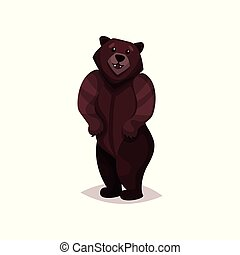 Brown grizzly bear cartoon vector Illustration