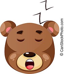 Brown grizzly bear sleeping, illustration, vector on white background.