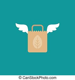 brown grocery paper shopping paper bag with wings. flat icon isolated on blue.