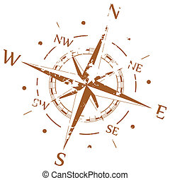 Brown grunge vector compass
