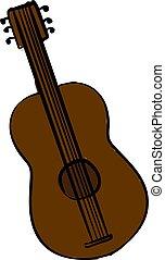 Brown guitar, illustration, vector on white background.