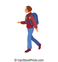 Brown-haired camper boy in the sweater with a backpack. Vector illustration in flat cartoon style.