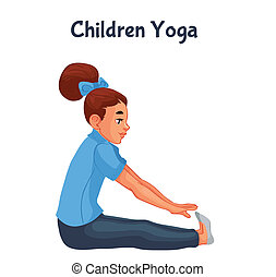 brown haired girl doing yoga, cartoon style illustration...