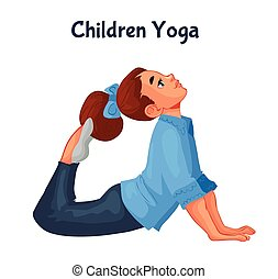 brown haired girl doing yoga, cartoon style vector...