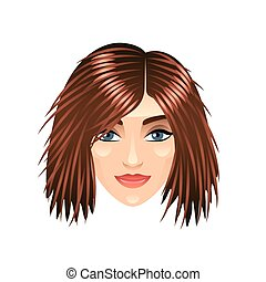Brown haired girl face isolated on white vector - Brown...