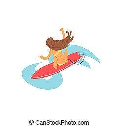 Brown-haired Girl On Surfboard From Above Flat Isolated...