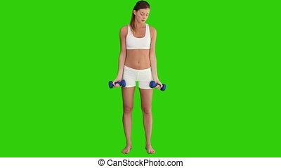 Brown-haired woman doing bodybuilding - Chroma-key footage...