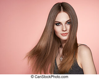 Brown-haired woman with long smooth hair