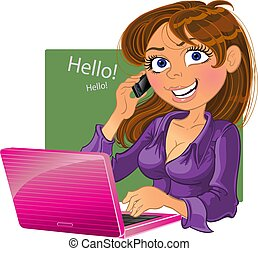 Brown-haired woman with phone and laptop