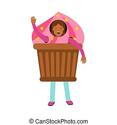 Brown-haired Young Girl Standing In A Cake Costume And Waving Her Hand Vector Illustration