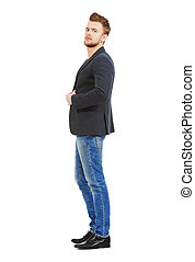 brown hairs - Full length portrait of casual young man ...