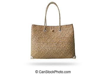 Brown handmade nature bag made from dry water hyacinth isolated on white background