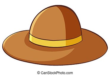 Brown hat on white background