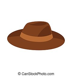Brown hat vector illustration isolated on white background.