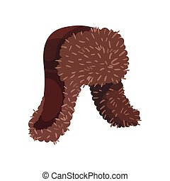 Brown hat with earflaps. Vector illustration on white background.