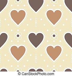 brown heart wallpaper, seamless pattern