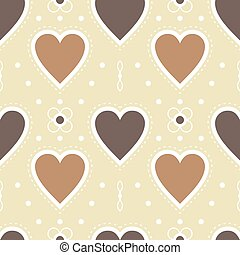 brown heart wallpaper, seamless pattern