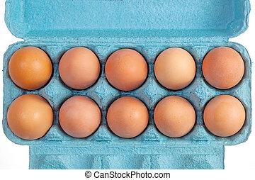 Brown hen eggs in a blue box