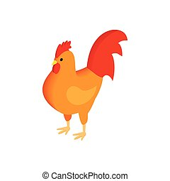 Brown hen isometric 3d icon
