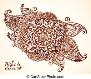 Brown henna colors vector floral element in Indian mehndi style