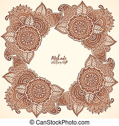 Brown henna colors vector floral frame in mehndi tattoo style