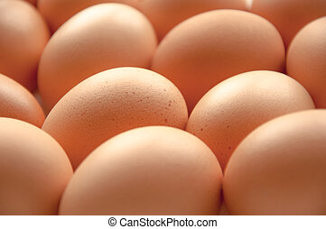 Brown hens Eggs close up