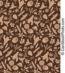 brown herbal ingredients pattern