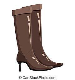 Brown high heel fashion boot icon, cartoon style