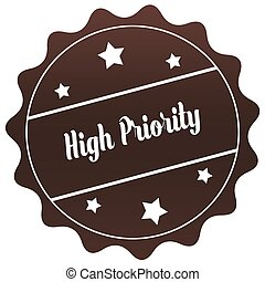 Brown HIGH PRIORITY stamp on white background.