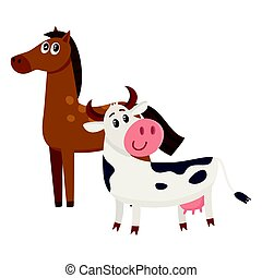 Brown horse, black and white cow with big eyes
