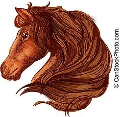 Brown horse head with wavy mane portrait
