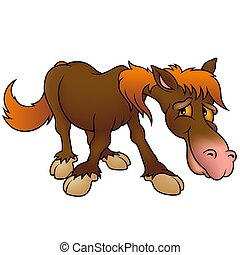 Brown Horse - Highly detailed cartoon animal.
