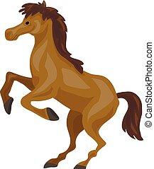 Brown horse icon, cartoon style