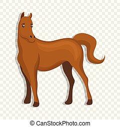 Brown horse icon, cartoon style - Brown horse icon. Cartoon...