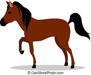 Brown horse, illustration, vector on white background.