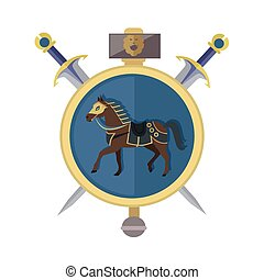 Brown Horse in Gold Circle. Isolated Avatar Icon