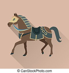 Brown Horse in Gold Collar. Isolated Avatar Icon