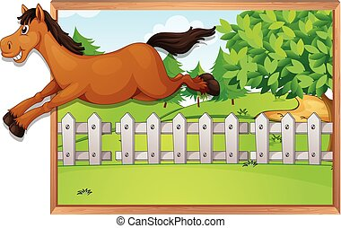 Brown horse jumping over the fence