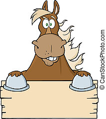 Brown Horse Over A Blank Sign