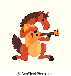 Brown horse playing the balalaika, cute musician animal cartoon character with musical instrument vector Illustration on a white background