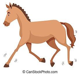 Brown horse running alone
