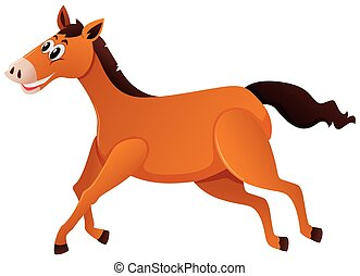 Brown horse running on white background