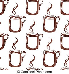 Brown hot coffee cups seamless pattern