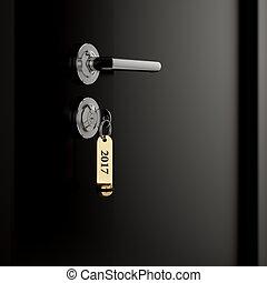 Brown hotel room door with key lable number 2017