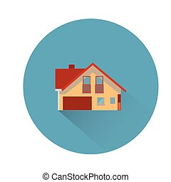 Brown house, round blue icon for site, flat style, on white background,