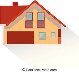 Brown house with shadow, flat style, on white background,