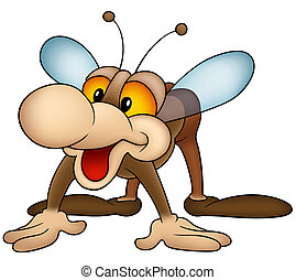 Brown Housefly - Colored Cartoon Illustration, Vector