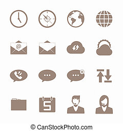 Brown icon mobile phone set